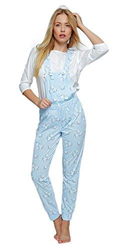SENSIS Angesagter Schlafanzug-Overall/Jumpsuit/Onsie mit niedlichem Printmuster, 100{204bd907a35b386d8b62d16fe62e3111e0a24d198d7104e20bf4426e8977b8da} Baumwolle - Made in EU (L (40), Latzhose mit Schäfchen, hellblau)