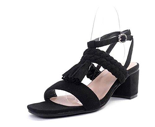 Beauqueen Sandali Donna Sandali Blk GRAY Fibbia 35-40 Black