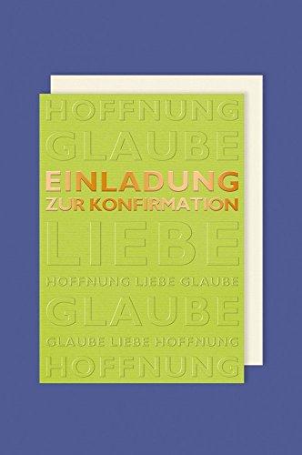 AvanCarte GmbH Konfirmation Einladungen Karte 5er Mehrstückpackung Goldene Schrift Grün Doppel Karten