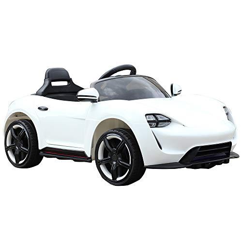HOMCOM Kinderauto Elektroauto Kinderfahrzeug Kinderwagen mit Fernbedienung Weiß L115 x B65 x H50 cm*