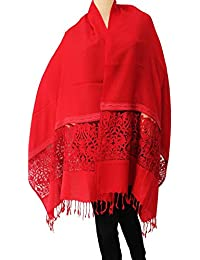 Matelco Pashmina Red Designer Stole With Lace And Embroidery