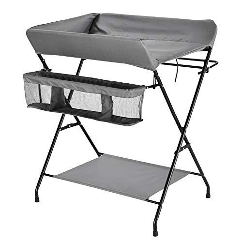 Tables à langer Table à langer pliante avec rangement pour petits espaces, Toddler Infant Portable Station de couche-culotte Pépinière Commode Style croisé (Couleur : Gray)