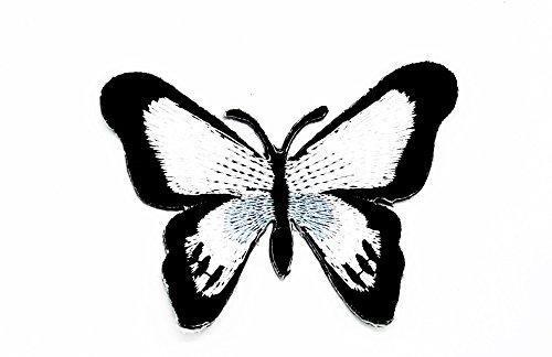 rabana schwarz weiß Schmetterling Wildtiere Punk Rock Hippie Kinder Cartoon Patch für Heimwerker-Applikation Eisen auf Patch T Shirt Patch Sew Iron on gesticktes Badge Schild Kostüm (Hippie Cat Design)