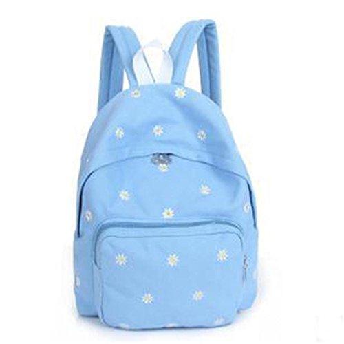 Kanpola Teenage Girl Boy Zipper Schule Taschen Rucksack Mode Stickerei Oval Leinwand Blau