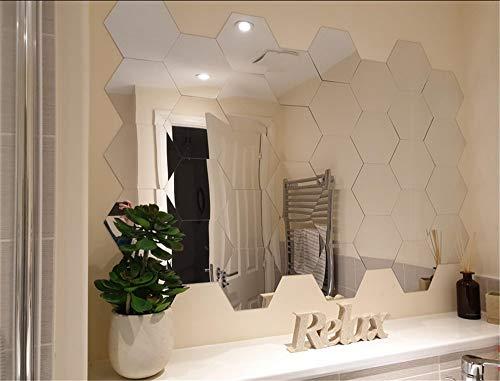 Set di adesivi da parete a specchio, esagonali, rimovibili, arte fai da te, decorazione per la casa, in acrilico, con specchi esagonali in plastica, per soggiorno, camera da letto, divano, sfondo TV