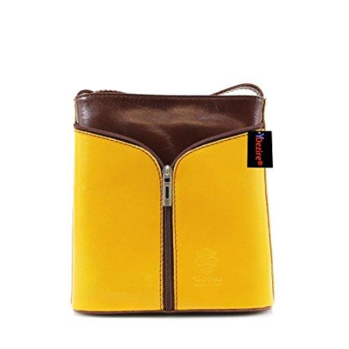 Womens Designer Lock & Key in pelle stile secchio-Borsetta donna Callie Yellow-Brown