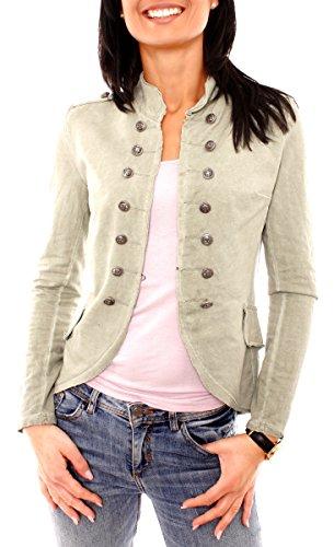 Olive Vintage Blazer (Damen Vintage Uniform Military Admiral Style Sweat Jersey Blazer Sakko Jacke Kurz Knopfleiste Offen Einfarbig Khaki S 36 (M))