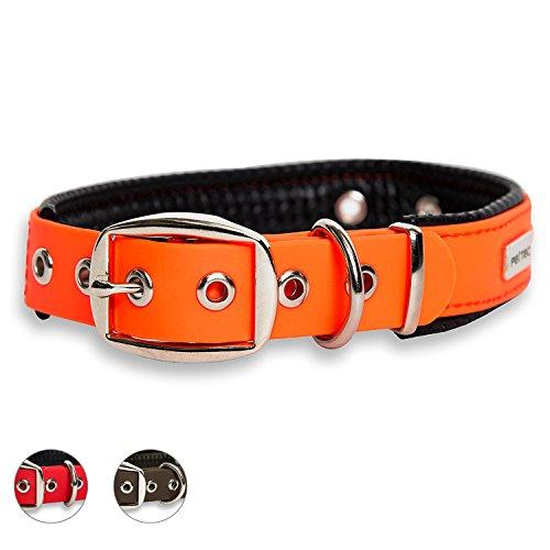 PetTec Hundehalsband aus Trioflex™ mit Polsterung, Orange, Wetterfest, Wasserabweisend, Robust