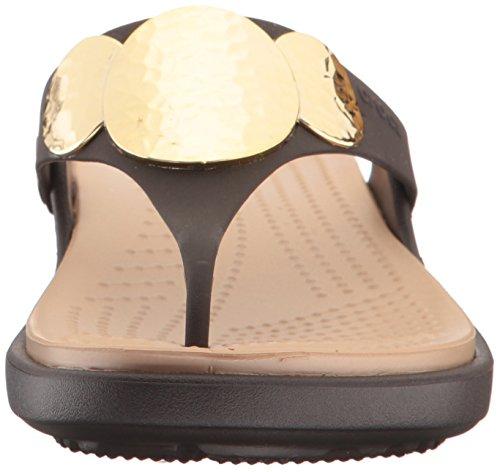 Crocs - Sanrah Agrémentée Wedge flip femmes Espresso/Gold