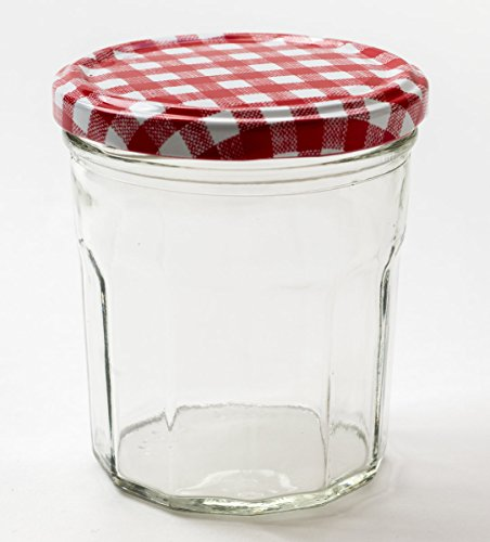 Nutley's Lot de 12 pots de confiture en verre à grande ouverture et couvercle de Vichy Rouge 324 ml