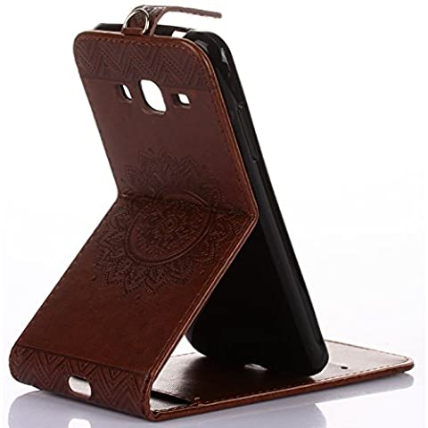 Galaxy J7 Prime G610 Wallet Coque, Magnetic Buckle Up Down Flip Slim Kickstand Etui, Hand Sling ID Card Slots, TAITOU Artistic Blossom Protect Phone Slim Case For Samsung Galaxy J7Prime Brown