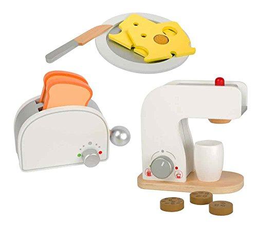 Checklife Frühstücksset Kinderküche Kaffeemaschine Toaster aus Holz