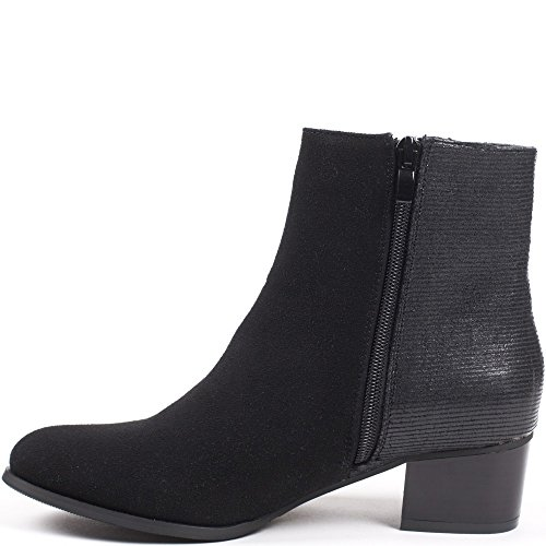 Ideal Shoes – Scarponcini bimatière Canelle Nero