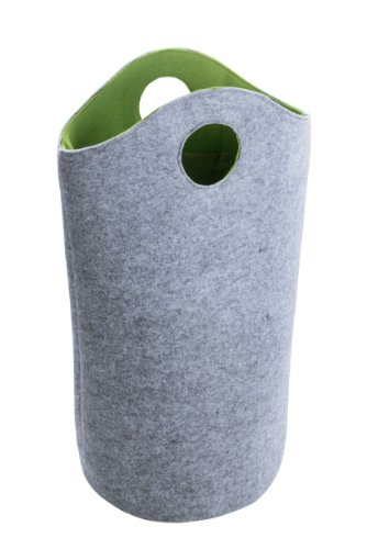 Wenko 3440200100 Wäschesammler Universal Filz L - Jumbo-Bag, 52 x 73 x 32 cm, 59 Liter, grau-grün