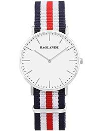 Alienwork Reloj cuarzo elegante cuarzo moda diseño atemporal clásico Nylon plata azul U04820G-01