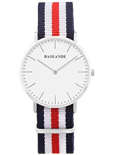 Alienwork Quarz Armbanduhr elegant Quarzuhr Uhr modisch Zeitloses Design klassisch Nylon silber blau U04820G-01