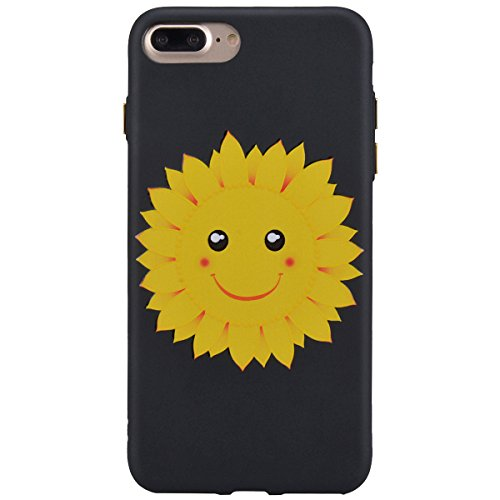 Yokata Cover per iPhone 7 Plus Pittura Custodia Gel Silicone Molle di Flessibile TPU Morbido Case Painting Protezione Backcover Caso Gomma Bumper Protettiva Shell per iPhone 7 Plus + Penna - Bauhinia Sunflower Smiley