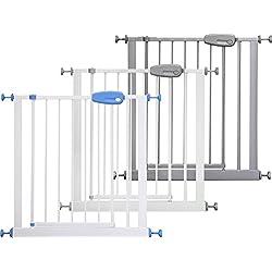 ib style® MEGANE Barrière de sécurité| à pression - sans percage |Blanc-gris |74-87 cm
