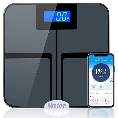 Veetop Körperfettwaage, Körperfettmessgerät smart Personenwaage Messung von Körperfett Wasseranteil Muskelanteil Knochenmasse BMI BMR für 8 Personen bis 180kg Bluetooth Kompatibel mit iOS Android