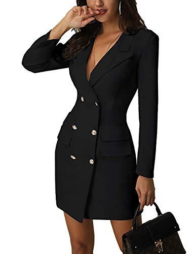 Breasted Blazer (Kleidermantel Frauen Solid Stylish V Neck Double Breasted OL Work Blazer Kleider Winterkleid Langärmel Mini-Mode-Kleid (S=EU34, Schwarz))