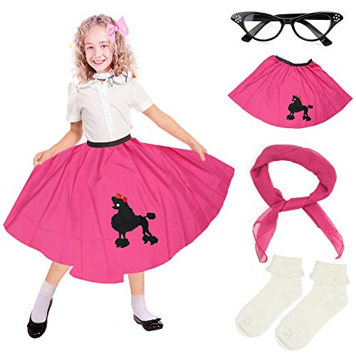 Pudel Mädchen Kostüm - Beelittle 4 Stück 50er Jahre Mädchen Kostüm Zubehör Set - Vintage Pudel Rock, Chiffon Schal, Cat Eye Brille, Bobby Socken (E-Hot Pink)