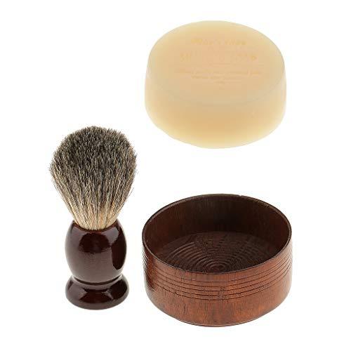 Baoblaze Kit de Rasage Brosse à Raser + Bol à Savon + Crème à Raser Pour Salon