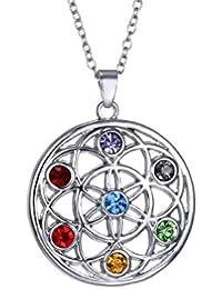 Elementos de cristal Swarovski 7Chakra Curación Piedras Eterno Colgante Collar por funda inspirado