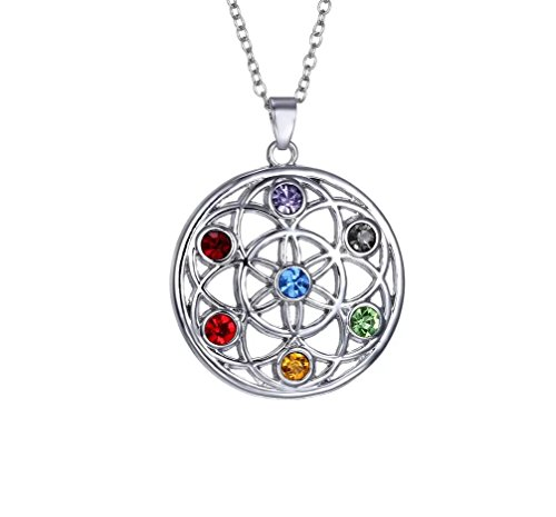 Swarovski Elements Kristall 7Chakra Heilung Steinen Eternal Anhänger Halskette von Designer inspiriert (Heilung, Chakra-kristalle)