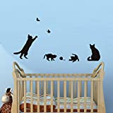 Butterflies And A Group Of Playful Cats Wall Stickers DIY Removable Stickers Home Decor For Stairs Wall Side Kids Room
