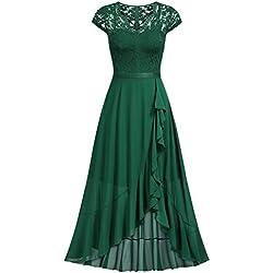 Miusol Encaje Gasa Volante Alto Bajo Noche Vestido Largo para Mujer Verde Large