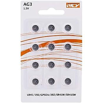 Pack de 12 Pilas AG3 1.5V Alcalinas Tipo Botón de Litio, LR41, 192, GP92A, 392, SR41W, SR41SW, Electrónica Rey®
