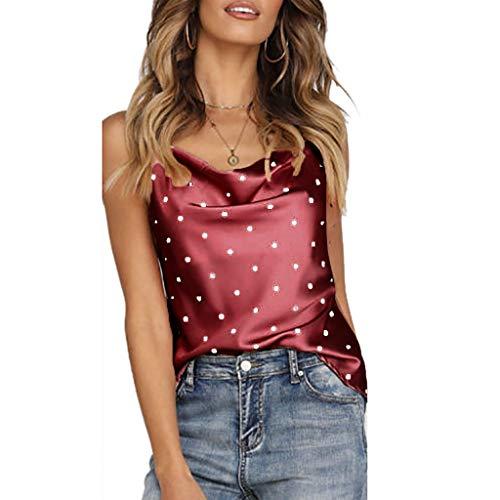 LuckyGirls Chaleco de Mujer Sin Manga Lunares Bandeau Camisetas Moda Camisa Tops Blusas Camisola (M,Burdeos)