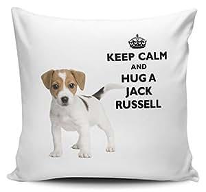 """Kissenbezug, Aufschrift """"Keep Calm And Hug A Jack Russell"""""""