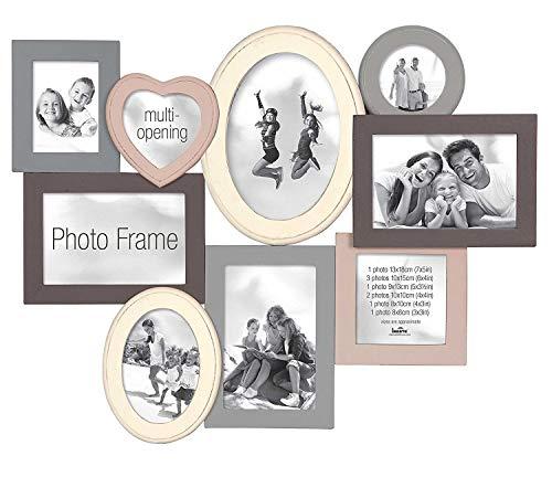 Innova PI03437 Madeira II - Cornice multipla per 9 foto, misure: 52,5 x 40 x 2 cm, grigio, legno