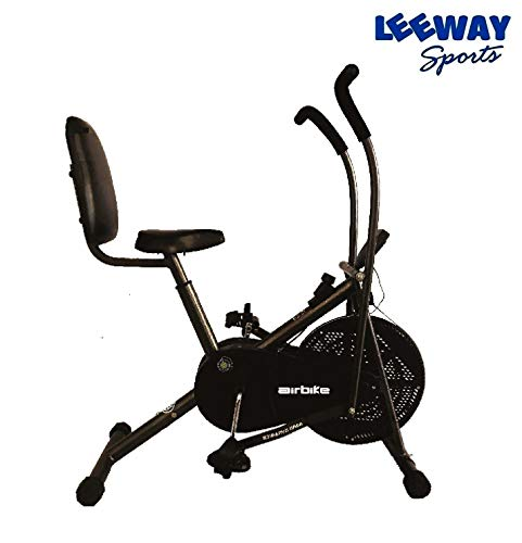 LEEWAY Steel Air Bike Exercise Cycle with Back Support (Black)