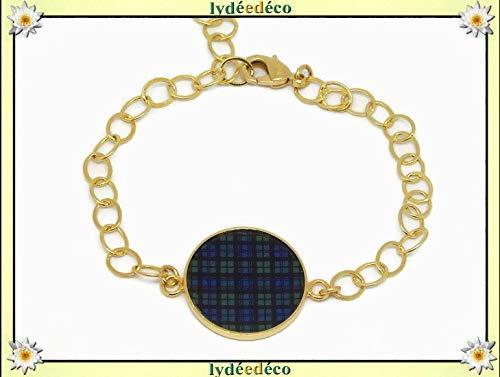 Verstellbares Armband kariert schottisch blau grün schwarz Uhr Tartan Outlander 24 Karat Harz personalisierte Geschenke Weihnachts Jubiläum Hochzeit Zeremonie Gäste Muttertag