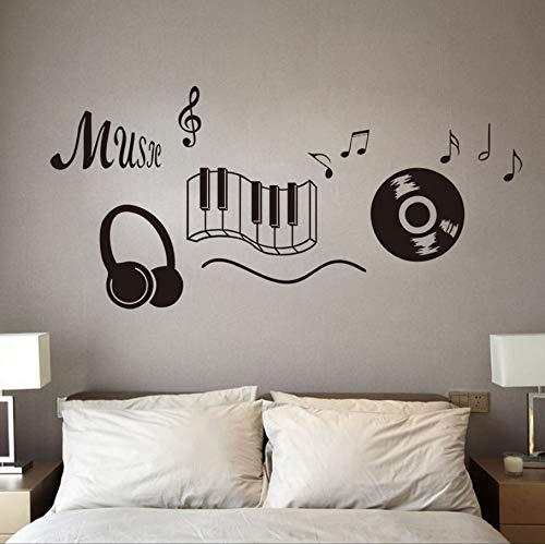 Zxfcczxf Klassische Record Kopfhörer Klaviertastatur Musik Hinweis Wandkunst Wandaufkleber Wohnzimmer Mode Wand Tattoo Schwarz Vinilos Paredes
