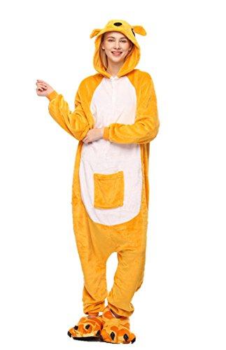 (URVIP Neu Unisex Festliche Anzug Flanell Pyjamas Trickfilm Jumpsuit Tier Cartoon Fasching Halloween Kostüm Sleepsuit Party Cosplay Pyjama Schlafanzug Känguru Medium)