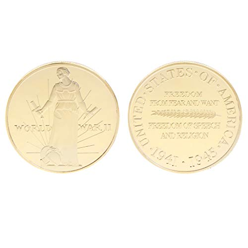 Amarzkmoneta commemorativa seconda guerra mondiale 2 monete stati uniti americane collezione di monete souvenir (oro)