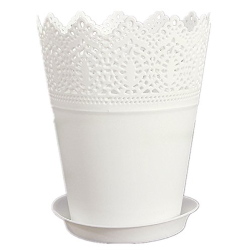 2 26 toogoor blanc couronne dentelle vase pot de fleurs en plastique pour maison bureau jardin. Black Bedroom Furniture Sets. Home Design Ideas