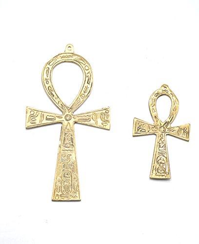 Ank llave de la vida 2 piezas de bronce. La pequeña mide 7 x 13,5 cm y La grande mide 9 x 17 cm aproximadamente. Simboliza la unión de la pareja, amor y larga vida.