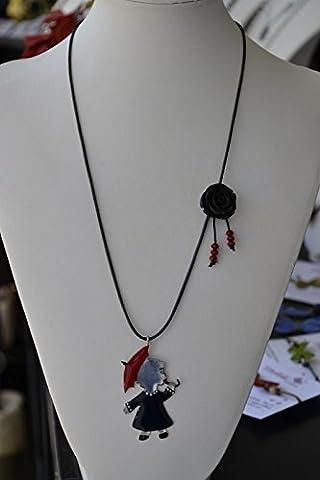 Handgemachte Halskette mit Mädchen aus Neusilber mit kaltem Emaille gefärbt