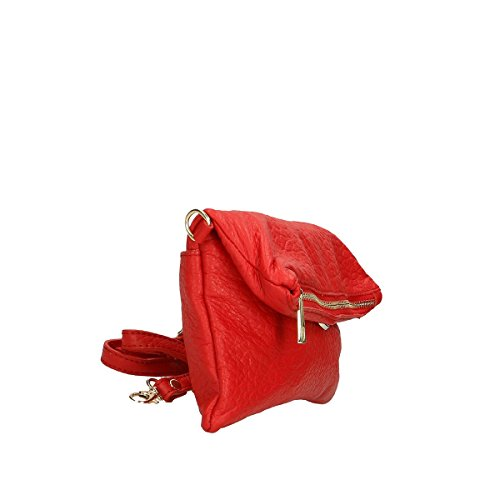 Rosso tracolla in pelle 26x14 100 Borse 5x4 a Borsa Leather Genuine Chicca CcPtqP