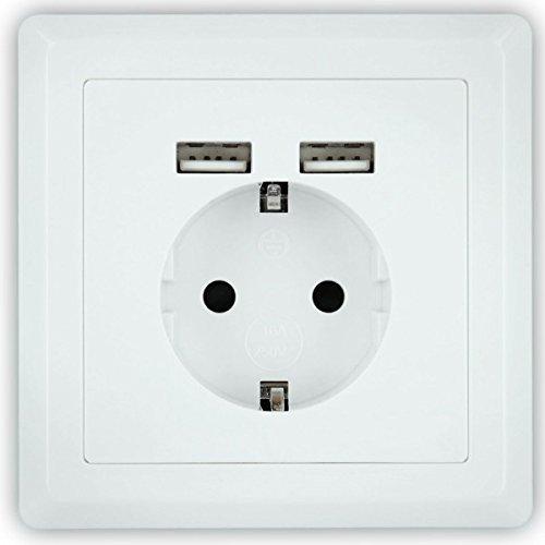 Minadax - Caja de enchufe tipo Schuko con 2 puertos USB (se adapta a t