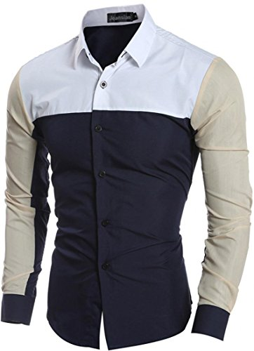 Jeansian Hommes Mode Chemises Casual epissure Manches Longues Men's Fashion Leisure Splicing Long Sleeves Slim Shirts Tops 84M9 Navy