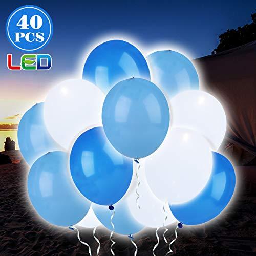 ende Luftballons 12 Zoll mit eigenem Schalter Party Artefakt, 24 Stunden Leuchtdauer, für Party, Geburtstag, Hochzeit, Festival, Weihnachten usw.(Blau & Weiß II) ()