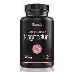 Magnesium Hochdosiert - Magnesiumoxid 420mg elementares reines Magnesium pro Kapsel - Höherer Gehalt als Magnesiumcitrat Pulver Bisglycinat und Glycinat Komplex - 180 Kapseln