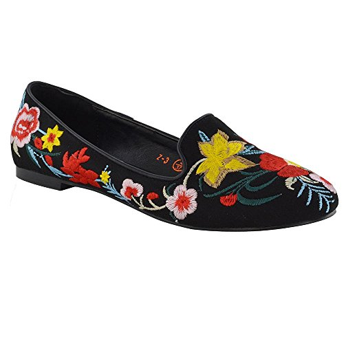 f8d54d6da4ce New Womens Embroidered Loafers Shoes Ladies Floral Slip On Ballerina Flat  Pumps - Buy Online in Oman.