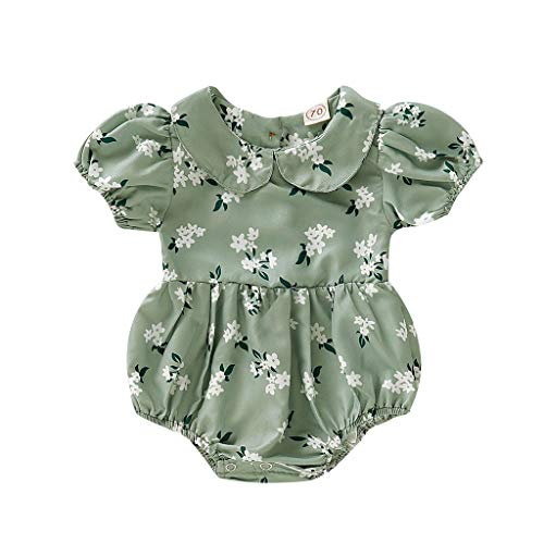 FBGood Neugeborenes Strampler Blumendruck Mädchen Strampelhöschen Lange Ärmellos Beiläufig Baby Bodys Sommer Peter Pan Kragen - Peter Pan Top Kostüm