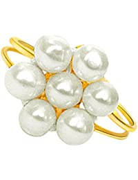 Surat Diamonds Flower Shape Real Freshawater Pearl adjustable Ring for Women (Ring-1)